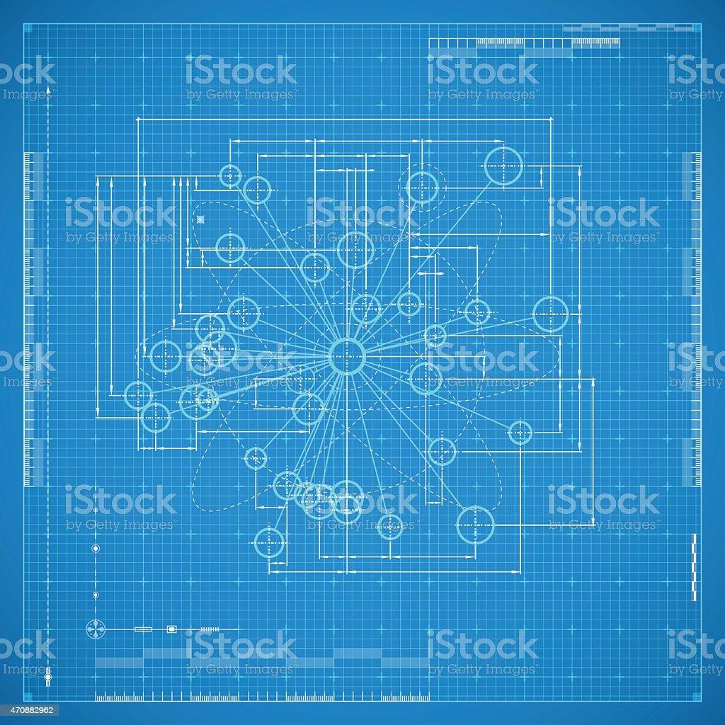 Blueprint of molecule vector art illustration