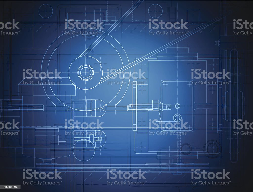 Blueprint of the reducing gear royalty-free stock vector art