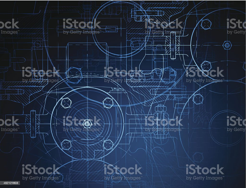 Blueprint of the reducing gear vector art illustration