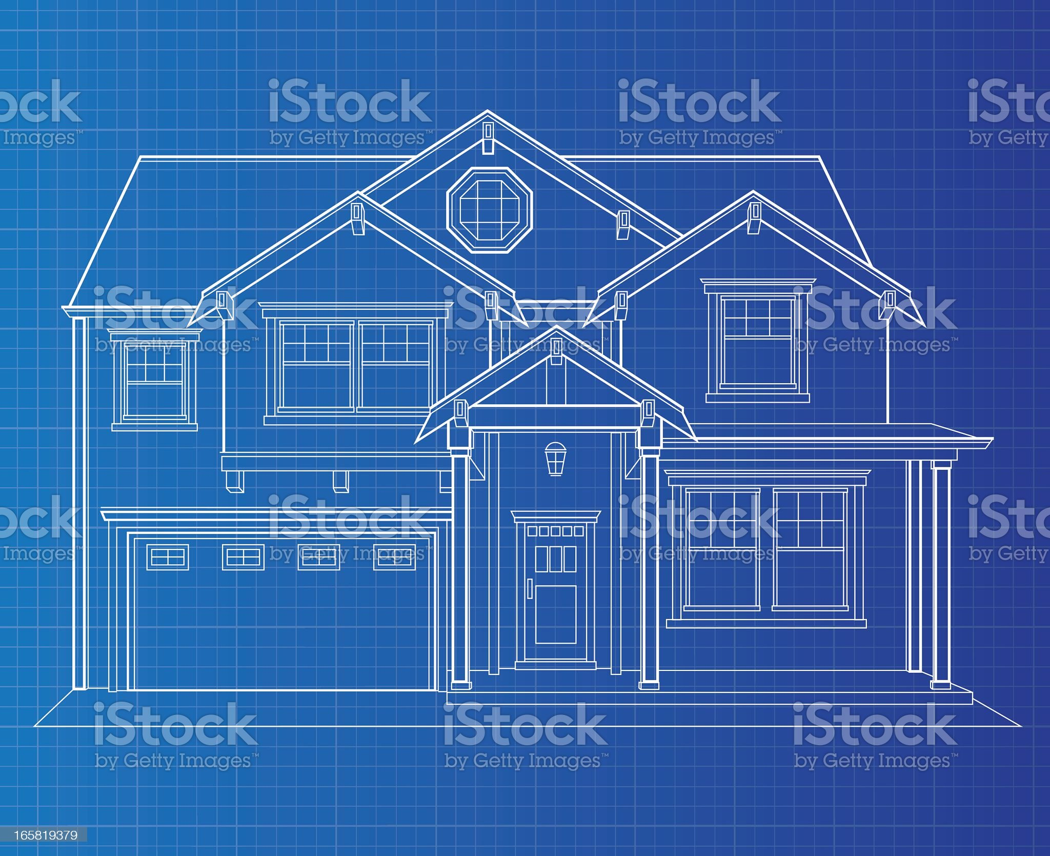 Blueprint Single Dwelling royalty-free stock vector art
