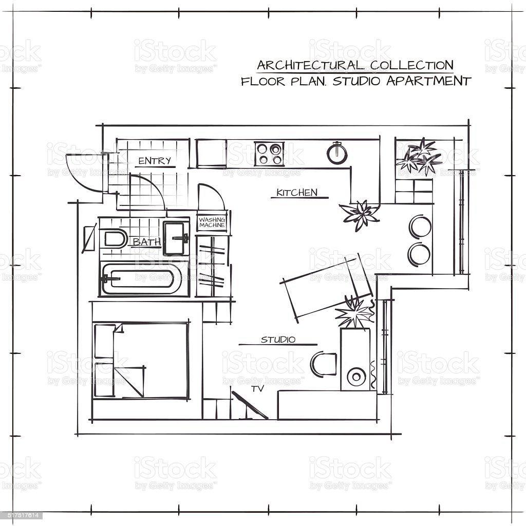 Dimensioned Studio Apartment Blueprints Modern House