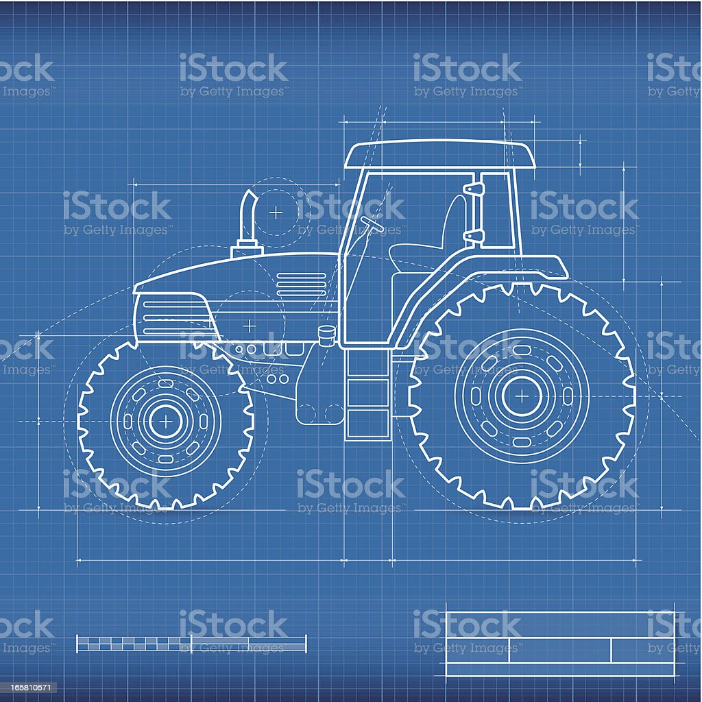 Blueprint, tractor vector art illustration
