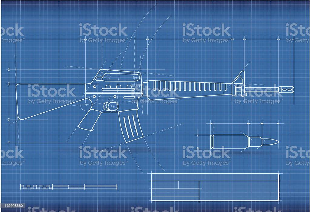 Blueprint weapon vector art illustration