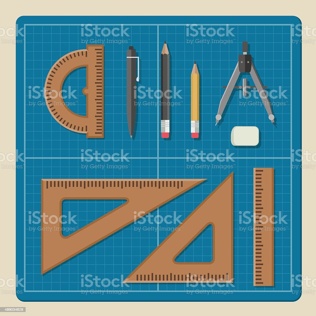 Blueprint with architectural professional equipment. vector art illustration