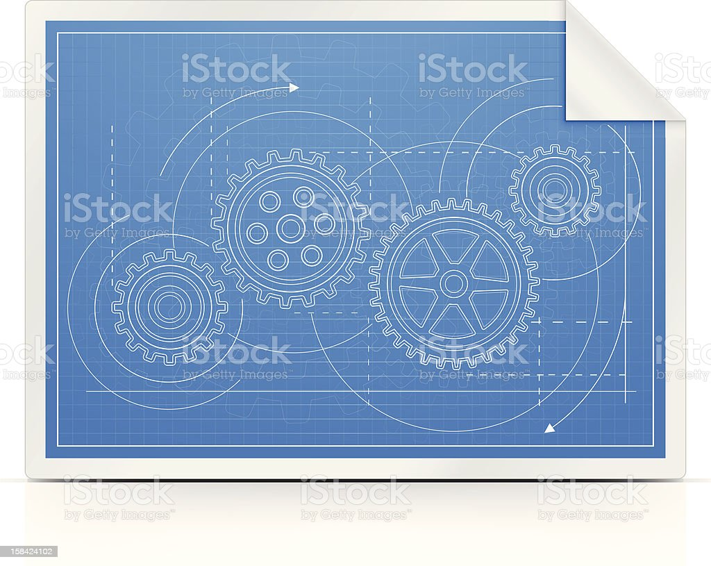 Blueprint with Gears royalty-free stock vector art