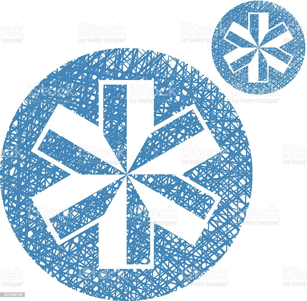 Blue-white snowflake vector simple single color icon isolated royalty-free stock vector art