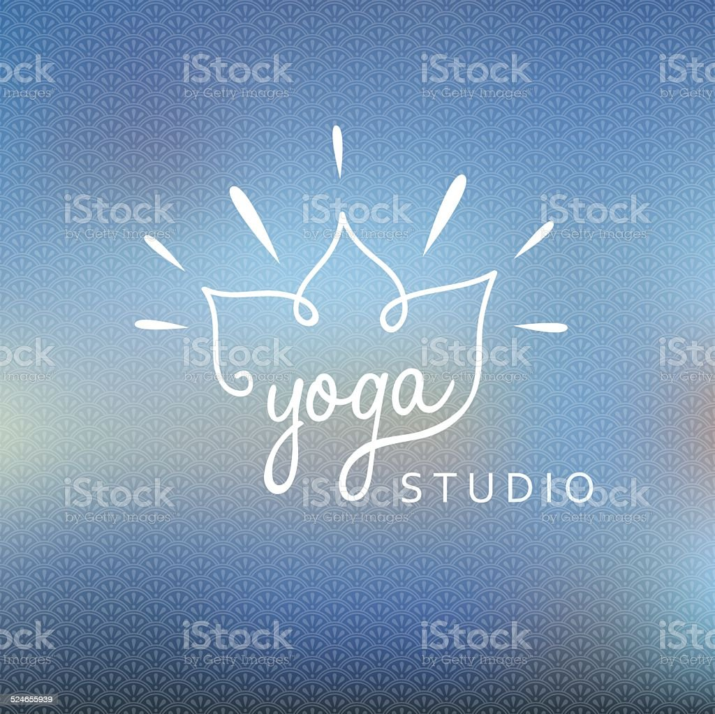 Blured background with yoga logo vector art illustration