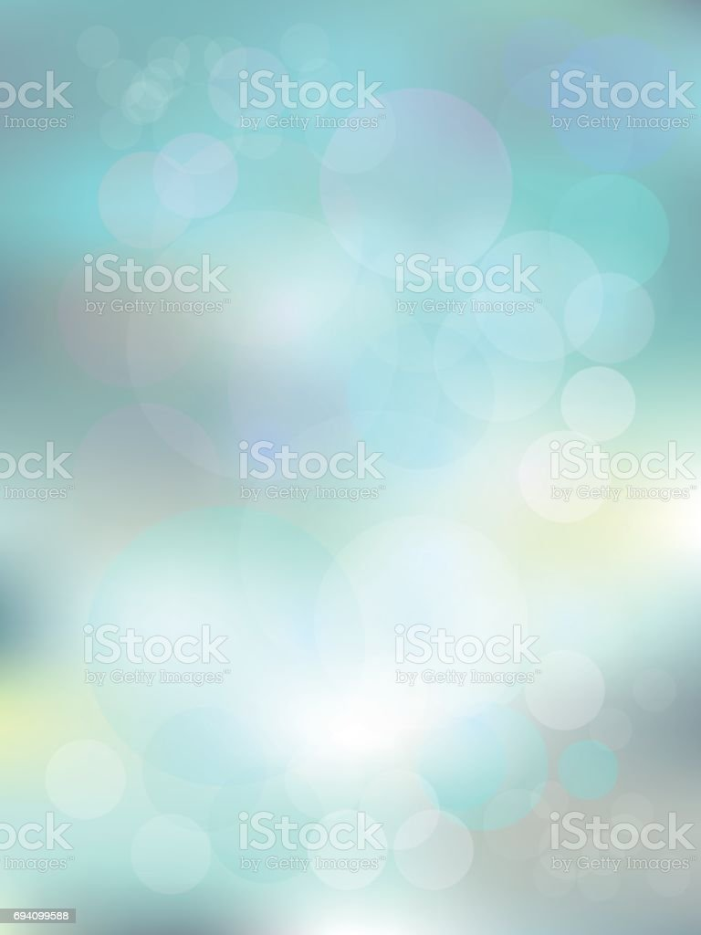 Blurred background in light mint blue color with bokeh. vector art illustration