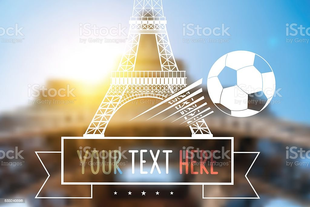 blurred background with Eiffel Tower and soccer ball vector art illustration