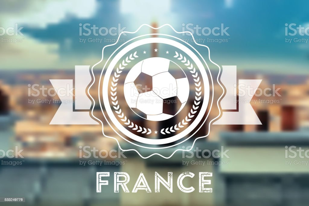 blurred background with france soccer ball line symbol vector art illustration