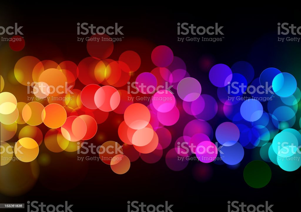 Blurred close up of colorful lights at night royalty-free stock vector art