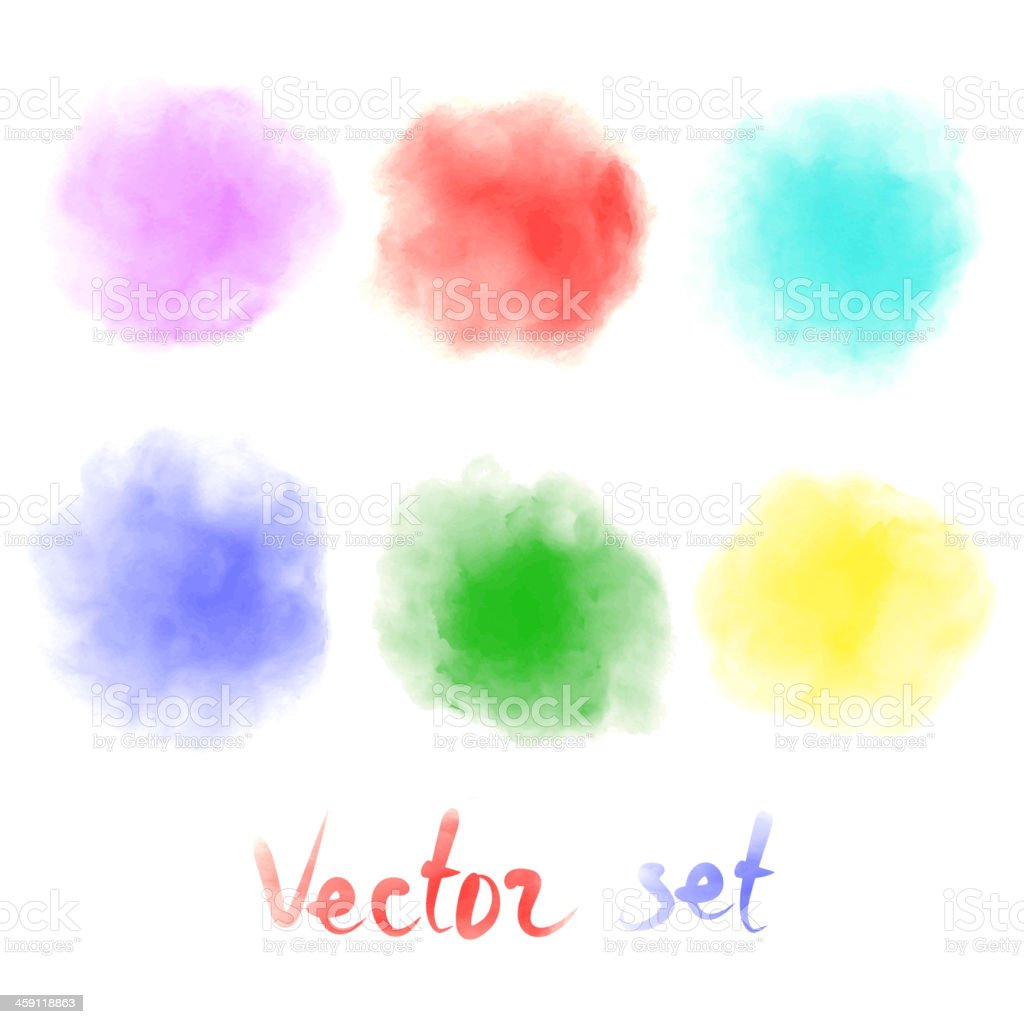 blurred colored watercolor stains vector art illustration