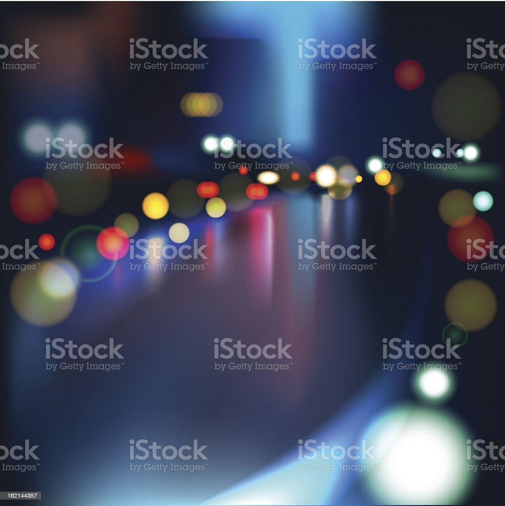 Blurred Defocused Lights on Rainy City Road at Night royalty-free stock vector art