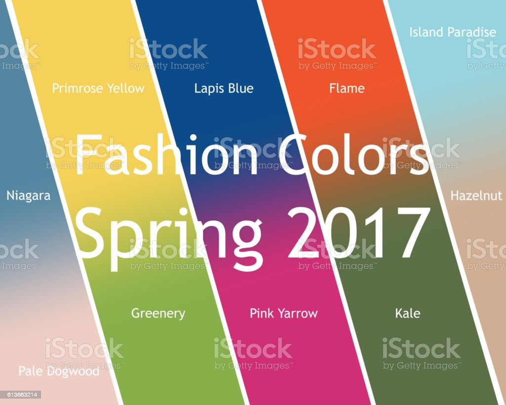 Trendy Colors blurred fashion infographic with trendy colors of the 2017 spring