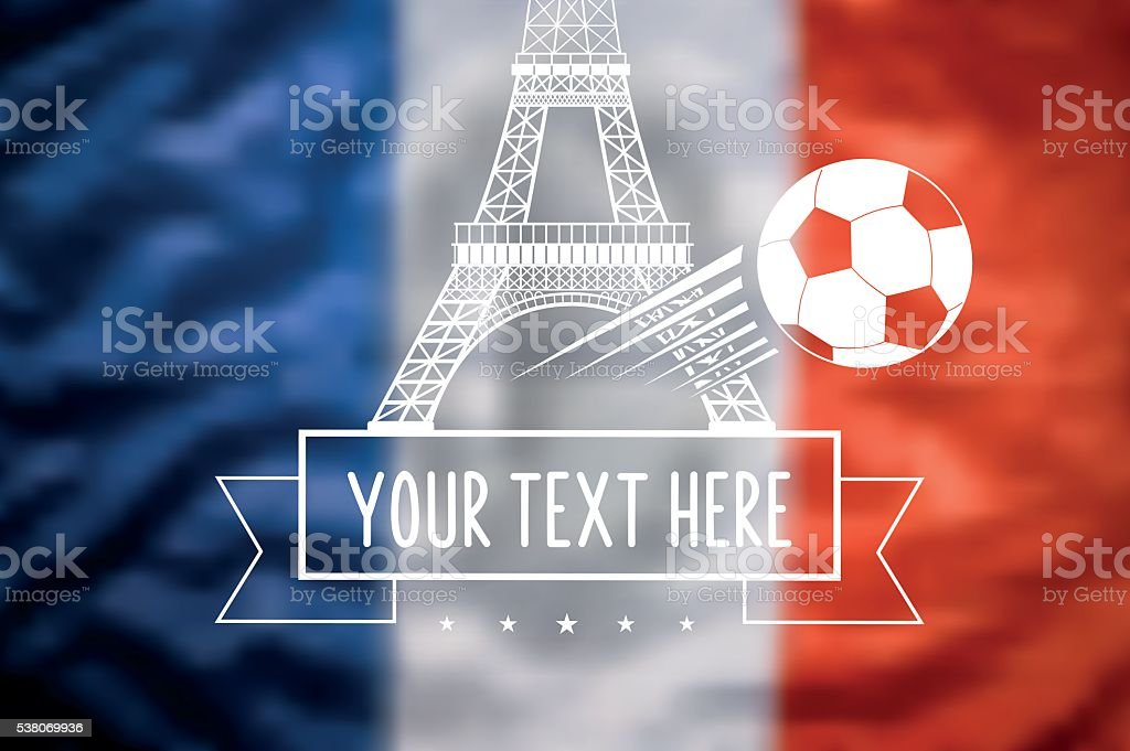 blurred french tricolore flag with eiffel tower and soccer ball vector art illustration