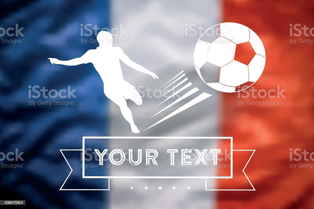 blurred french tricolore flag with  soccer player kicking the ball vector art illustration