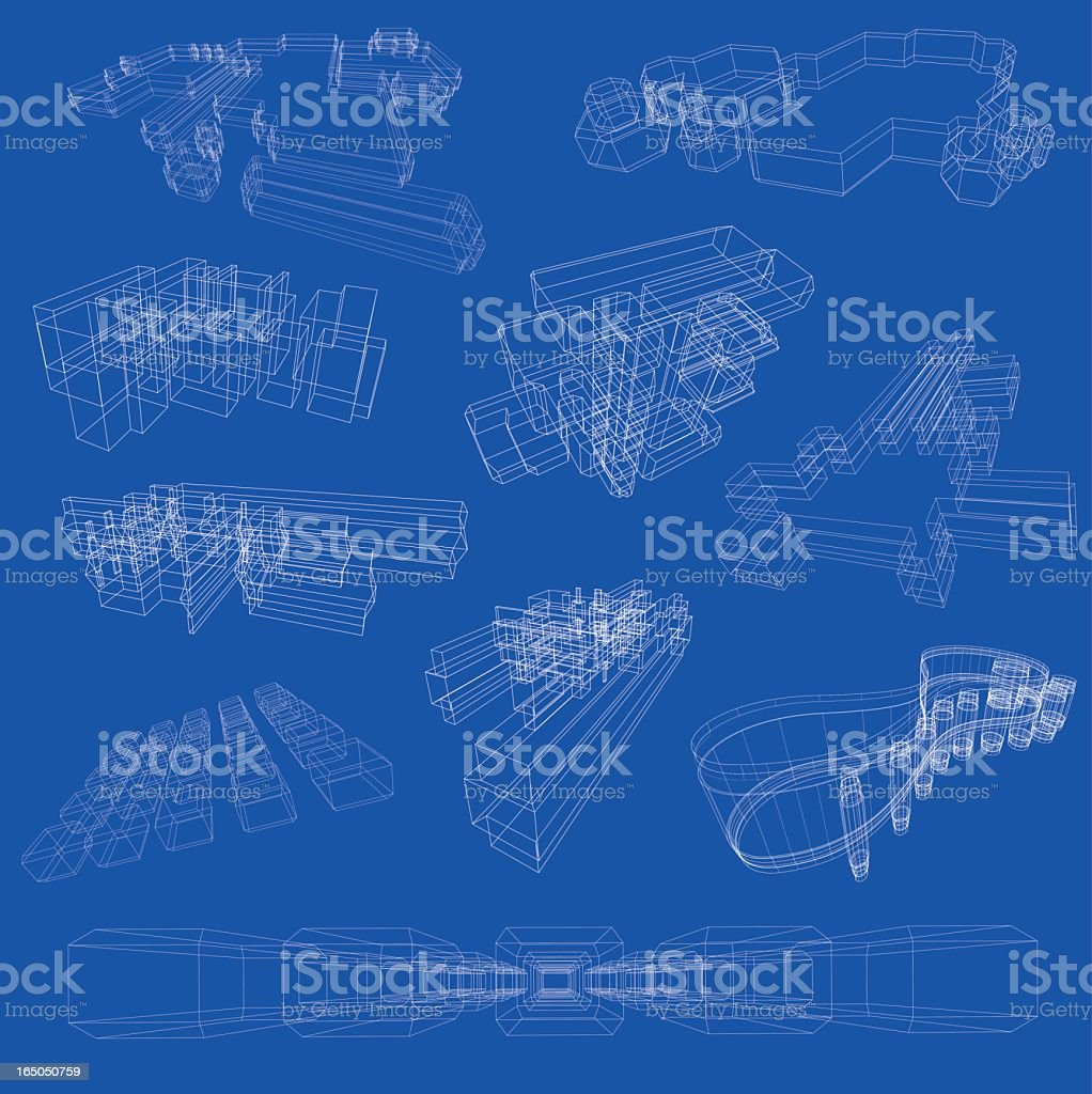 A blurred image of a range of blueprints royalty-free stock vector art