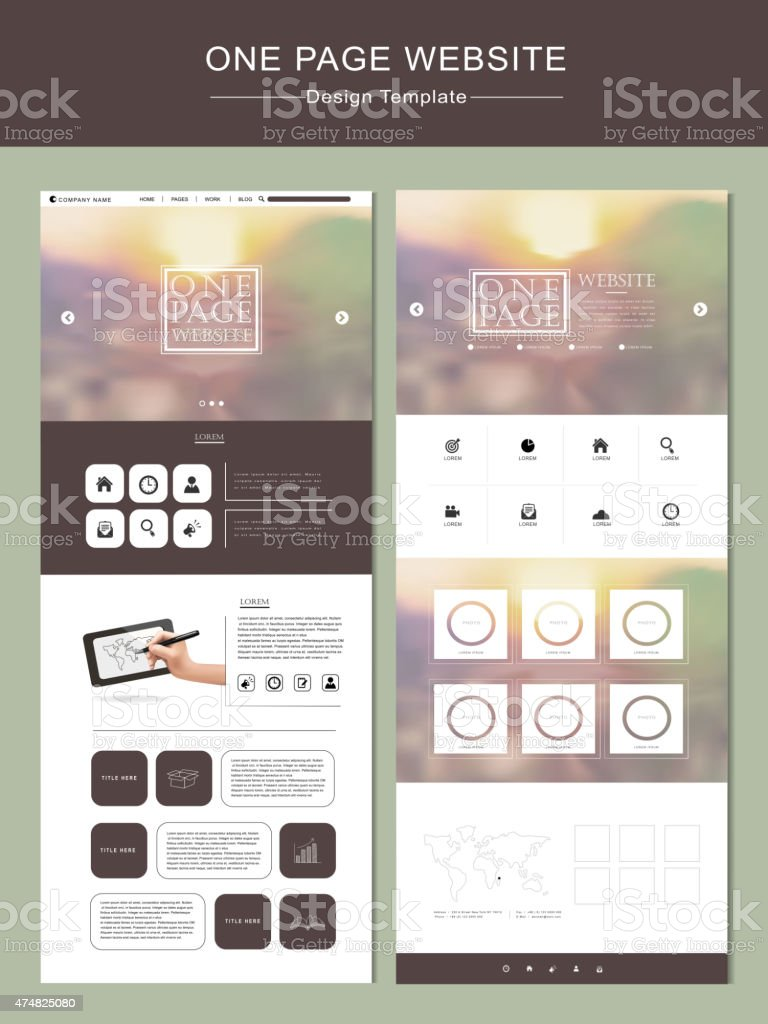 blurred one page website template design vector art illustration
