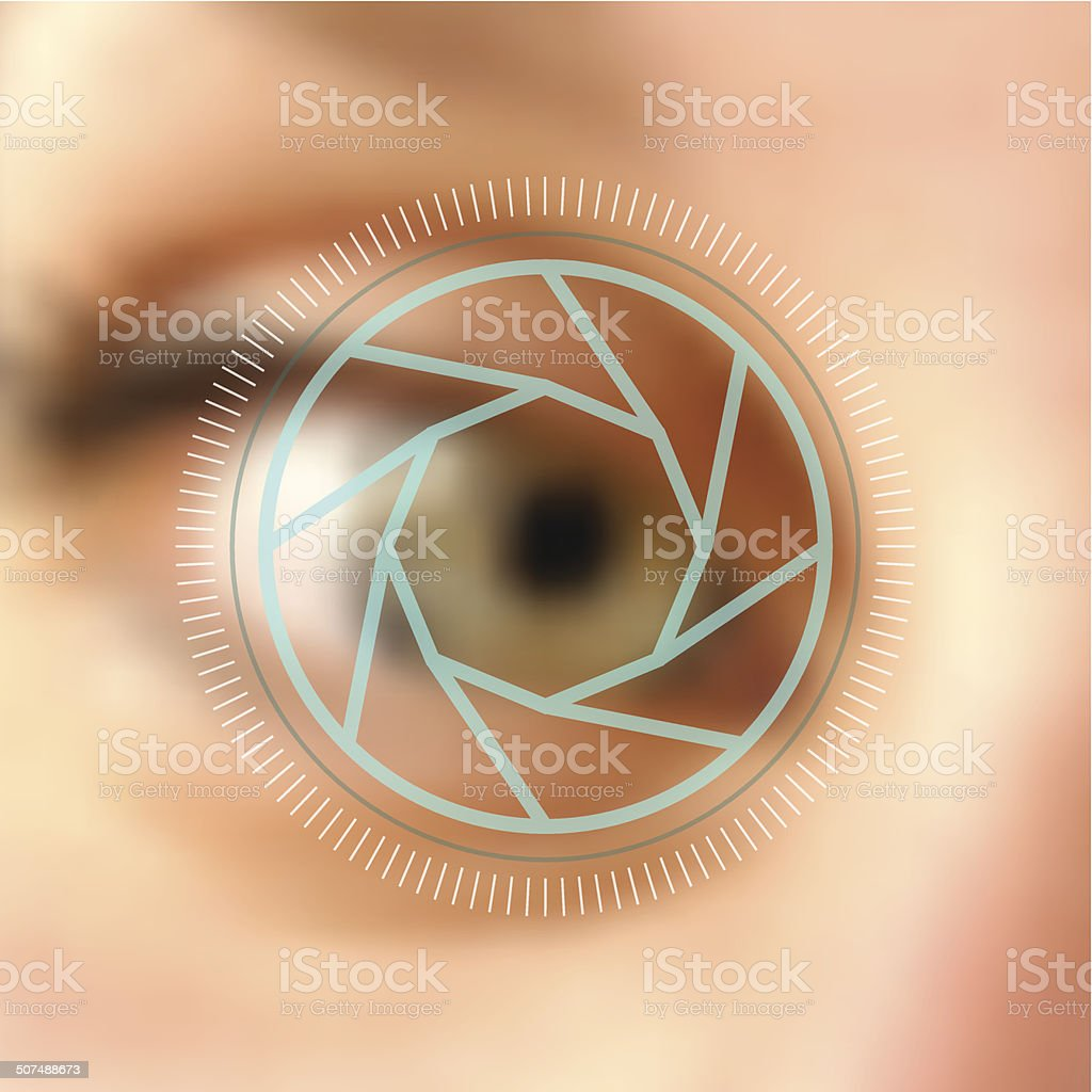 Blurred photo eye camera lens concept vector art illustration