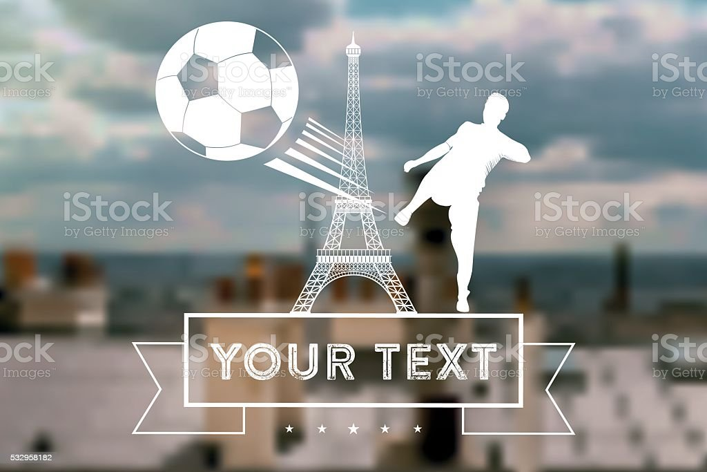 blurred soccer background with Eiffel Tower and player with ball vector art illustration