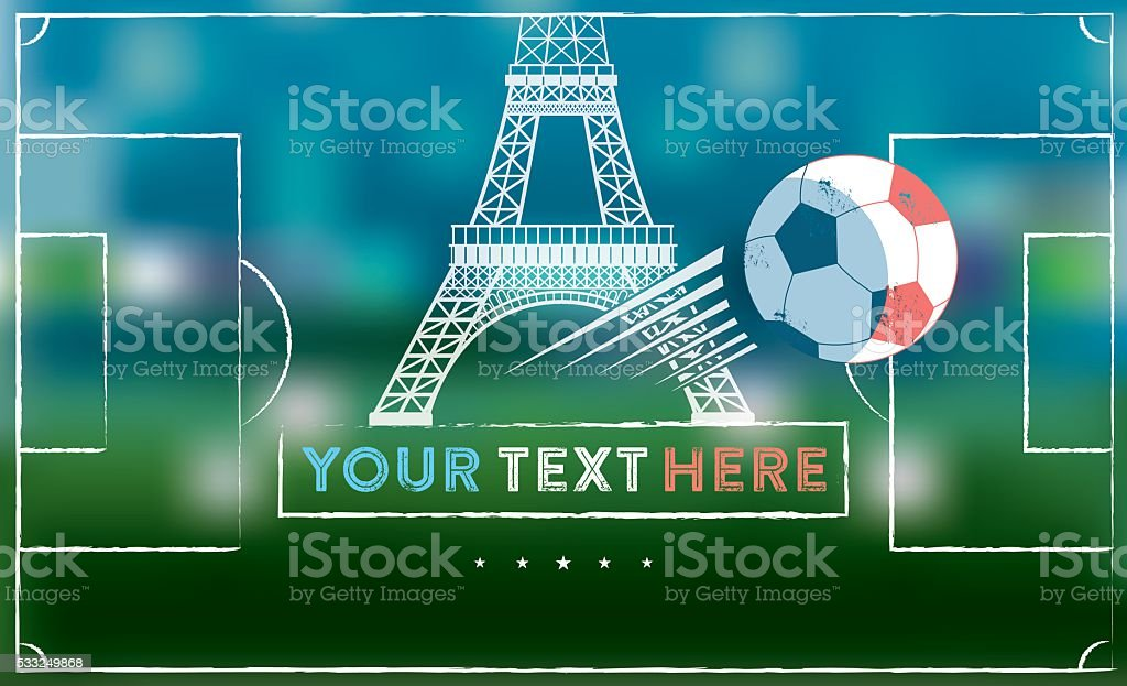 blurred soccer field with Eiffel Tower and soccer ball vector art illustration