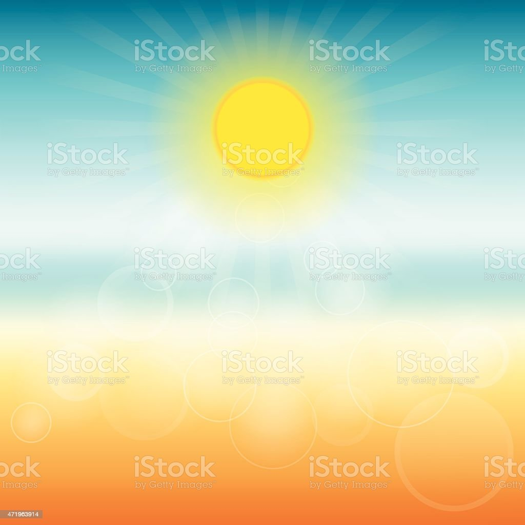 Blurred summer background. Sun shines brightly. vector art illustration