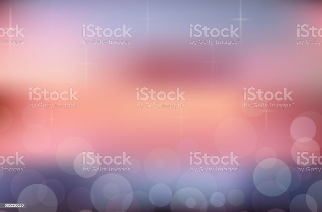 Blurred summer background. Sunset. Beach with sparkles and bokeh. Vector background for your creativity vector art illustration