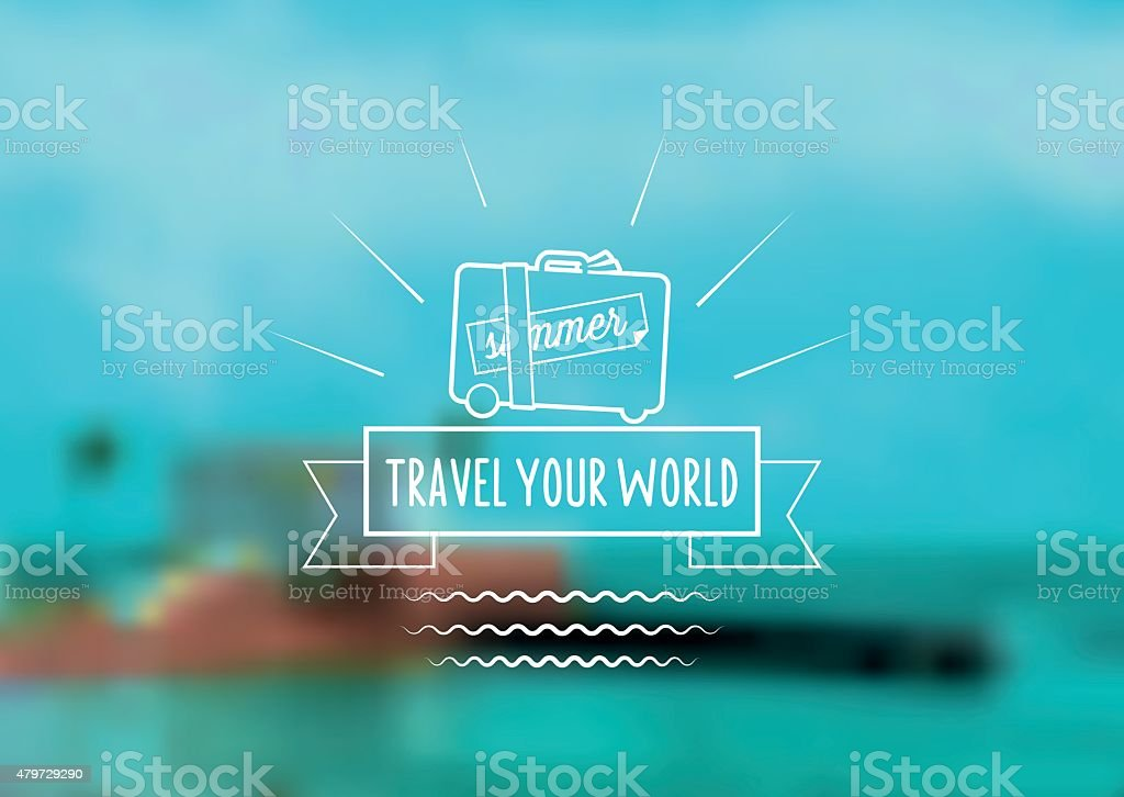 blurred tropic beach with travel icon vector art illustration