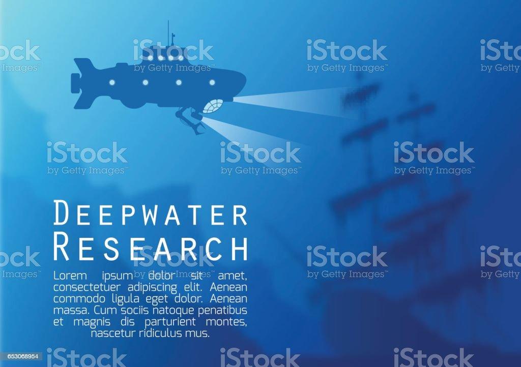 Blurred underwater background with submarine silhouette vector art illustration