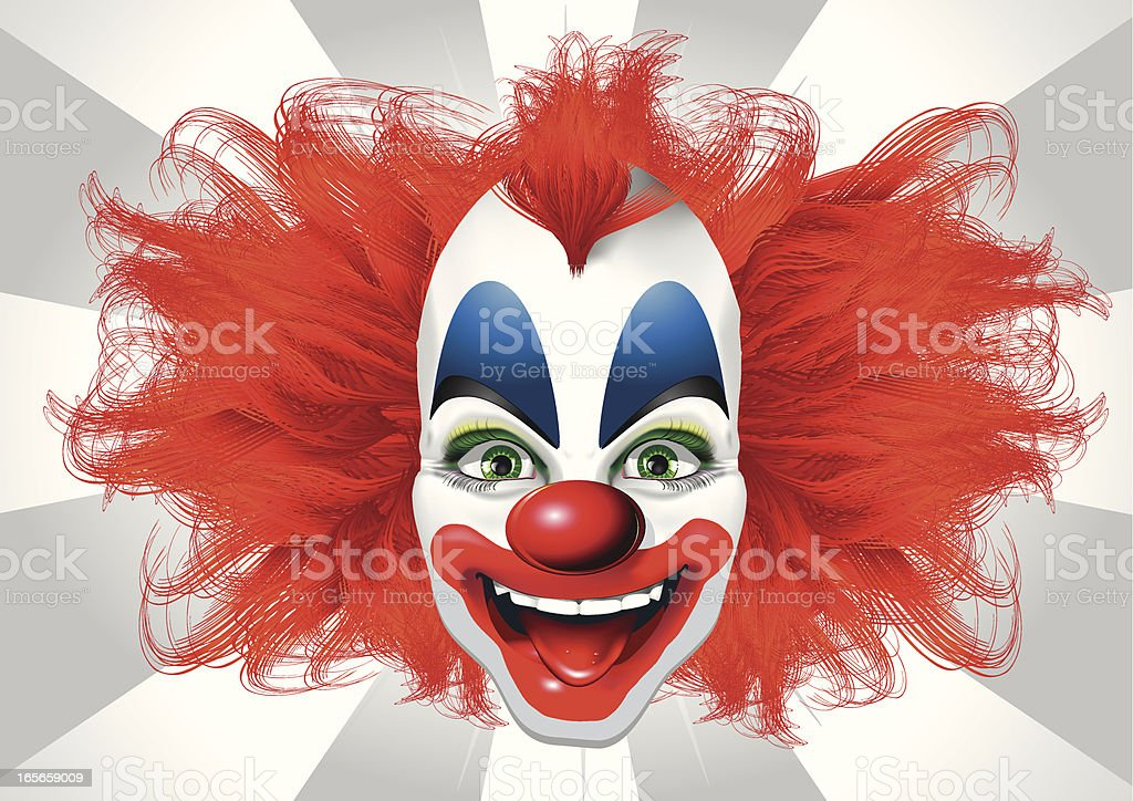 Blurred vision of a bright clown  vector art illustration