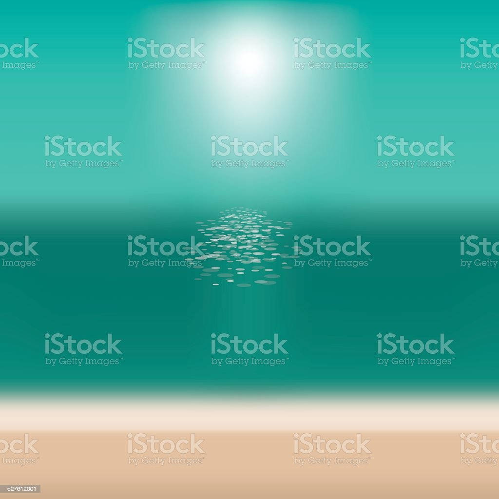 Blurry beach background with copy space vector art illustration