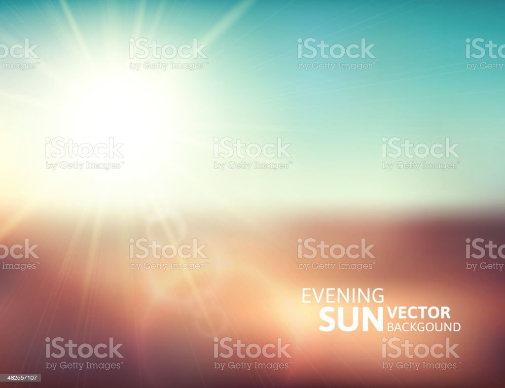 Blurry evening scene with brown field, sun burst vector art illustration