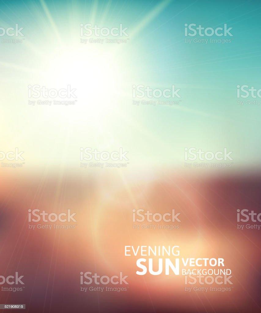 Blurry evening scene with brown field, sun burst vector art illustration