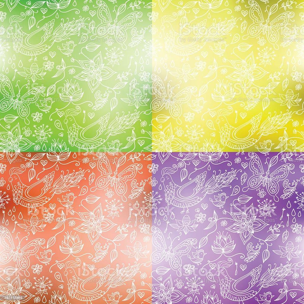 Blurry flower pattern vector art illustration