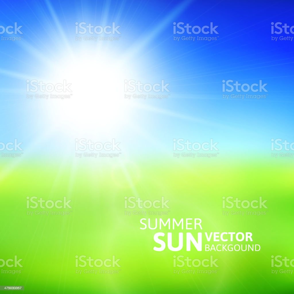 Blurry green field and blue sky with summer sun vector art illustration