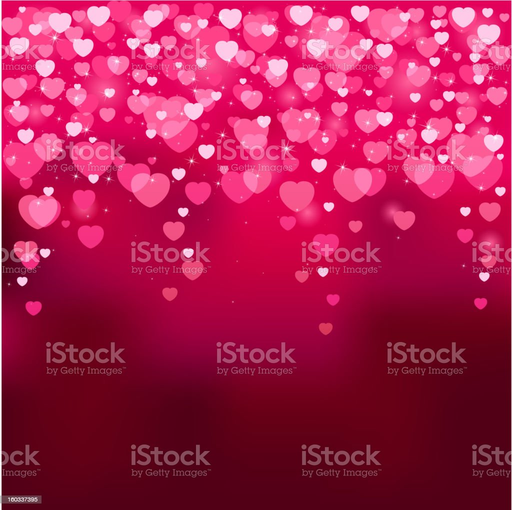 Blurry hearts vector art illustration
