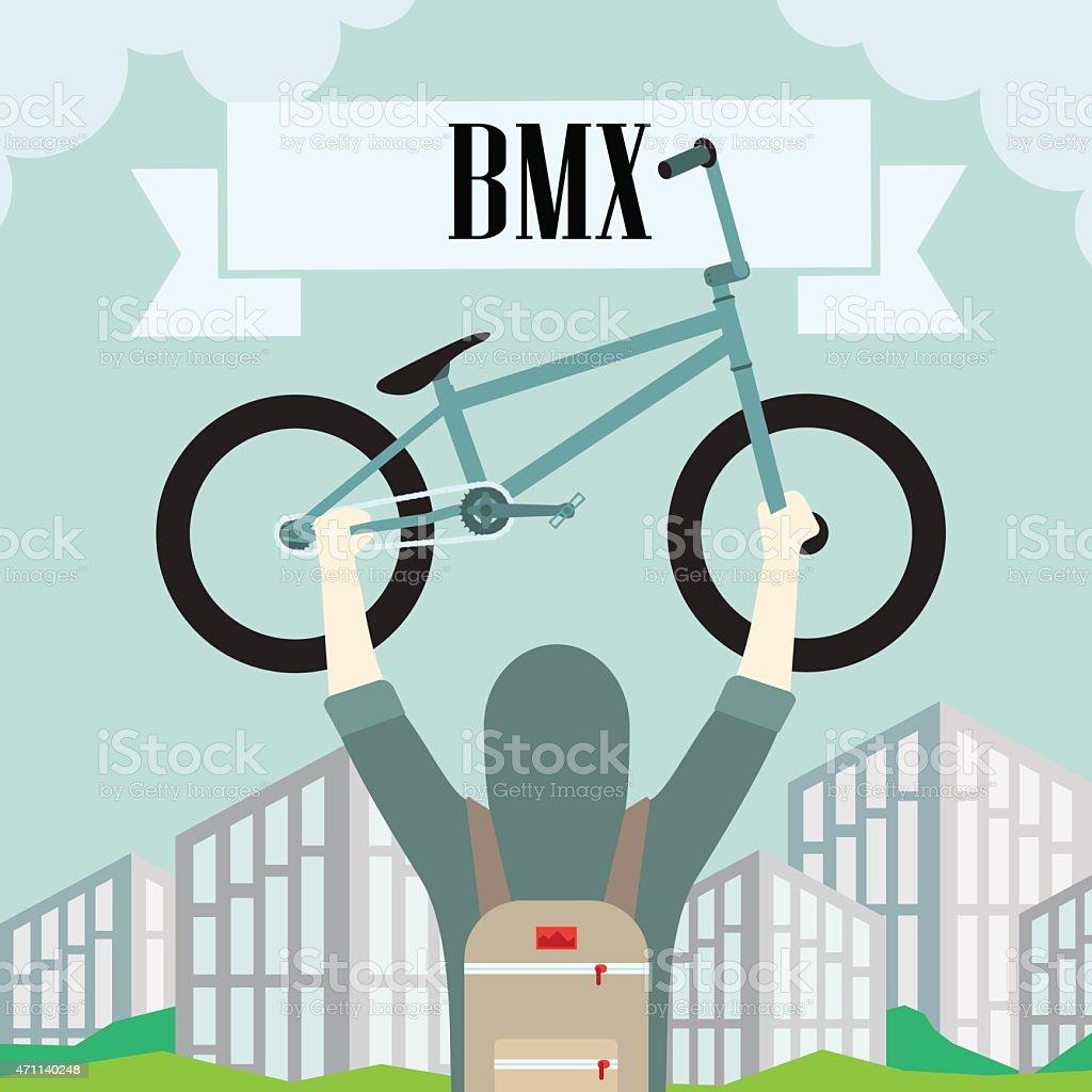 bmx bicycle vector art illustration