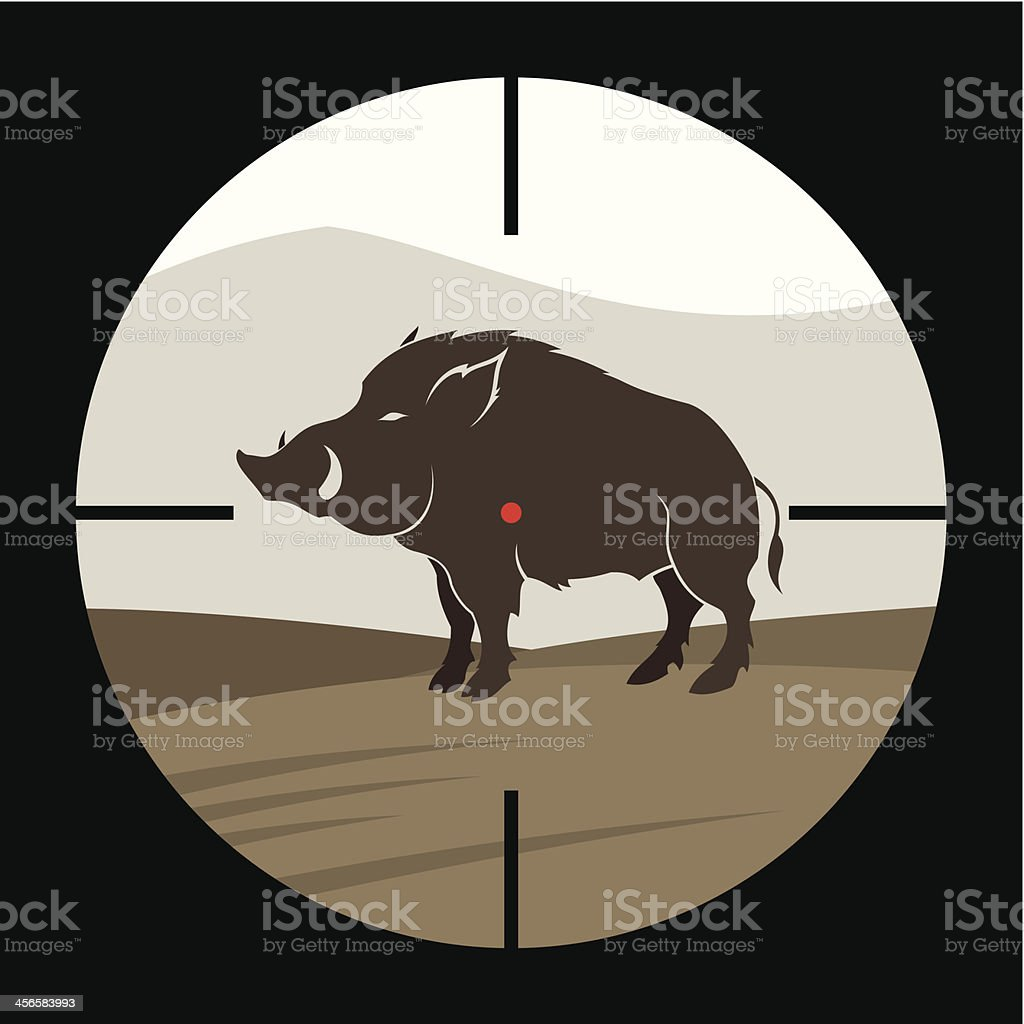 Boar hunting royalty-free stock vector art