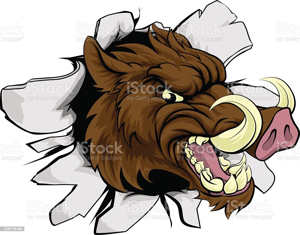 Boar Razorback Sports Mascot vector art illustration
