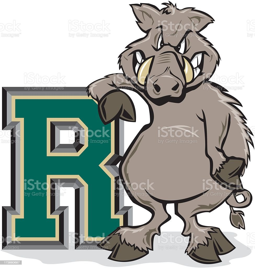 Boar With Letter R royalty-free stock vector art