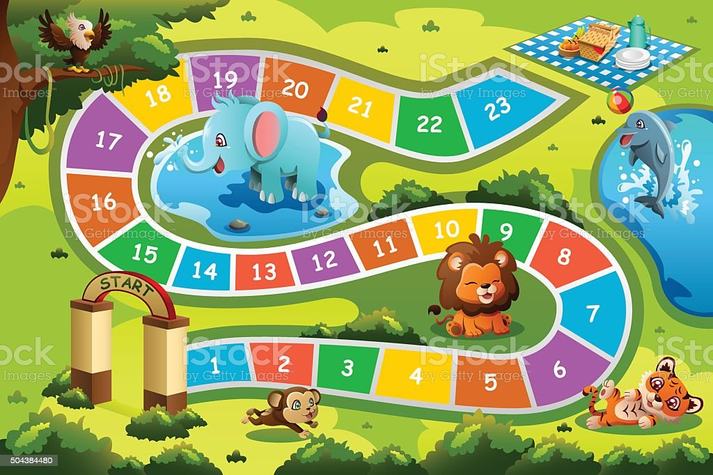 Board Game in Animal Theme vector art illustration