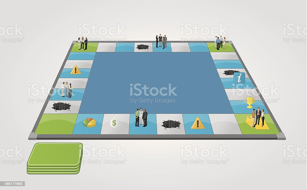 Board game with business people over path. vector art illustration