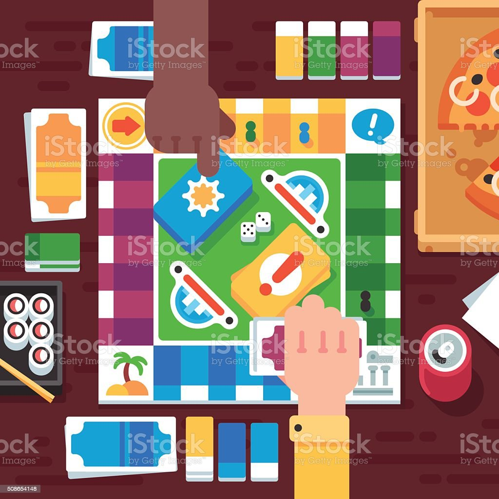 Board Game with Cartoon Hands vector art illustration