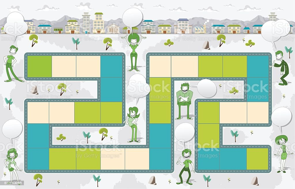 Board game with green people on the city. vector art illustration