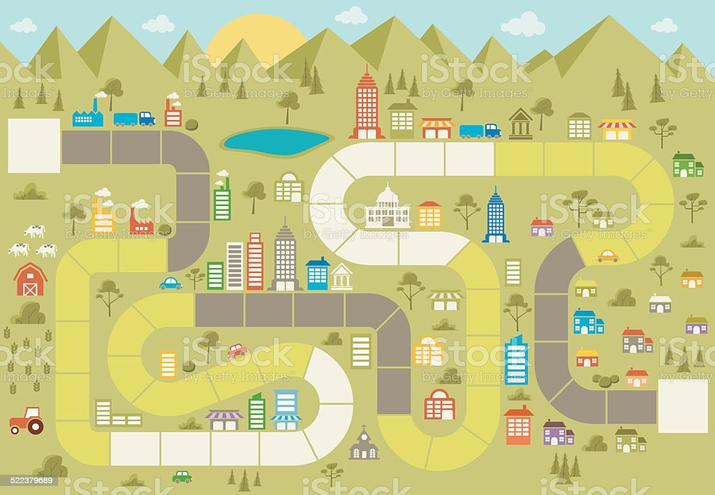 Board game with path on the city vector art illustration