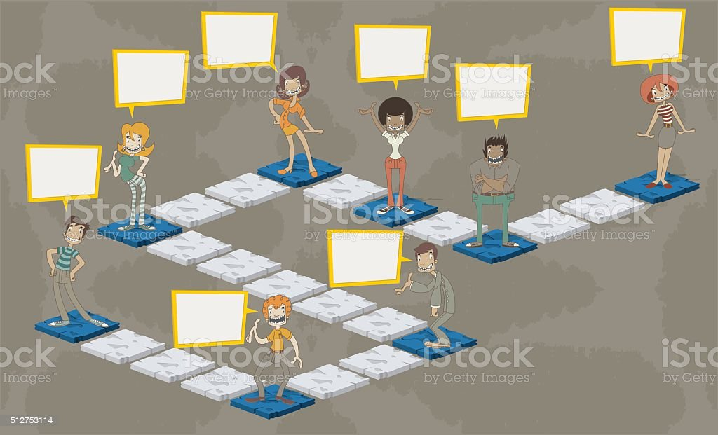 Board game with people vector art illustration