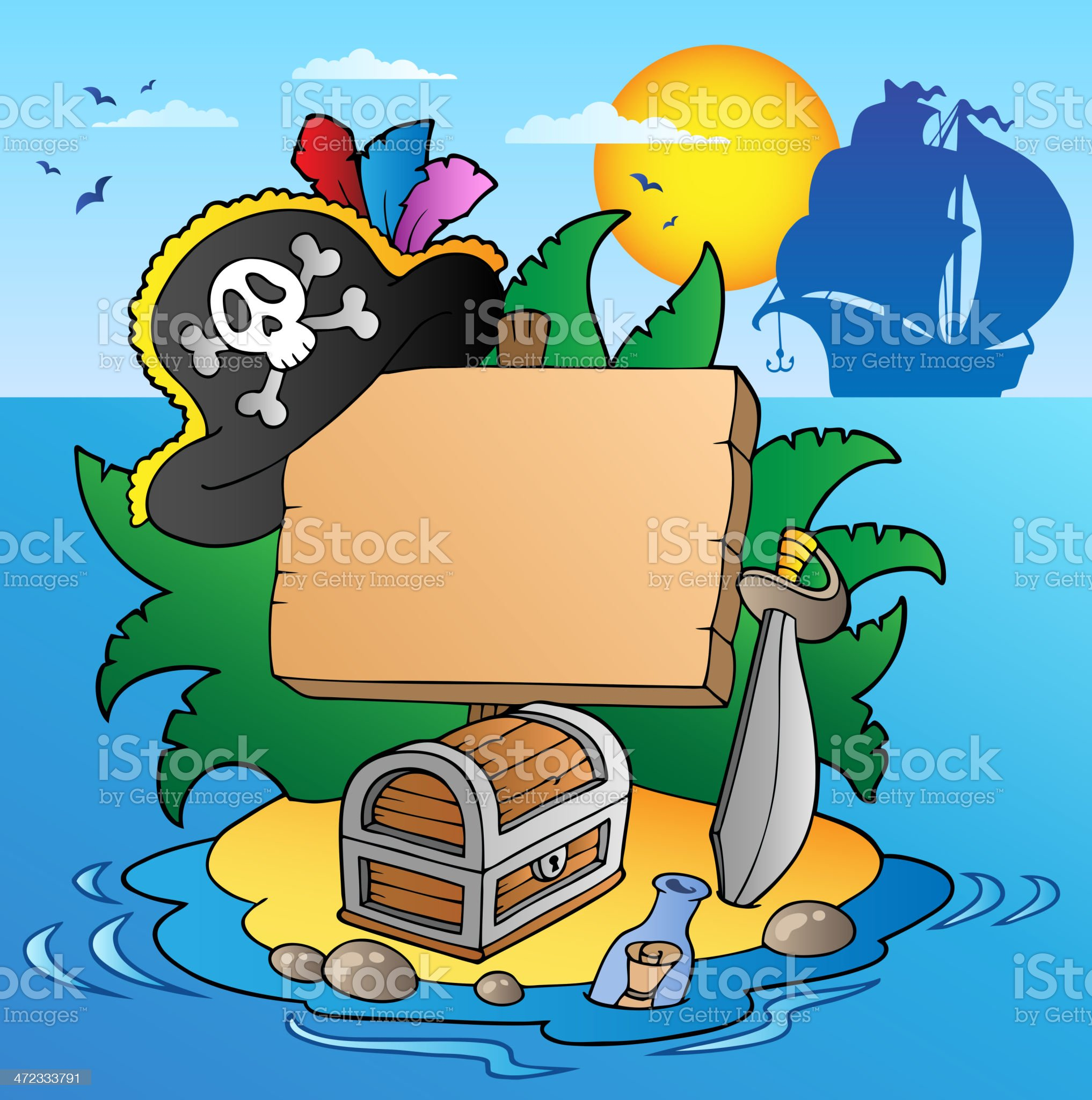 Board on pirate island with ship royalty-free stock vector art