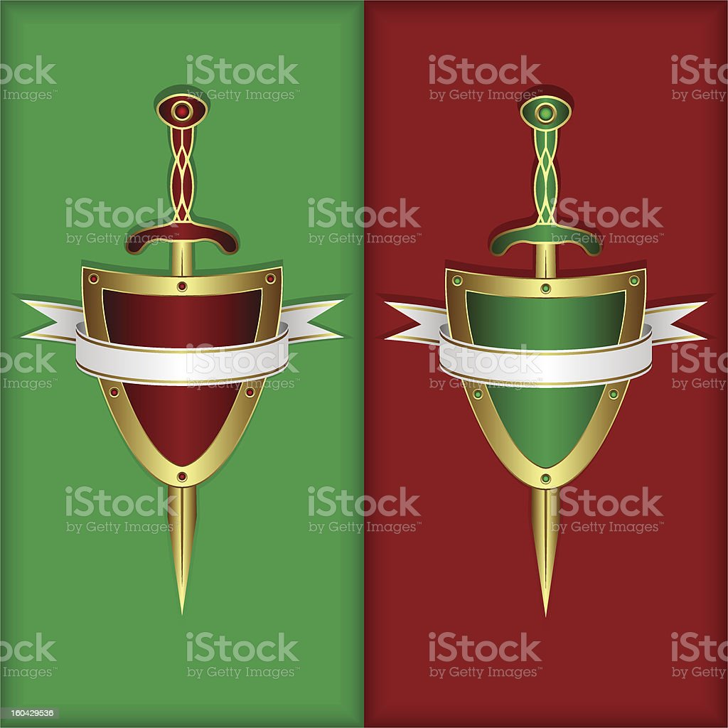 Board, sword and banner royalty-free stock vector art