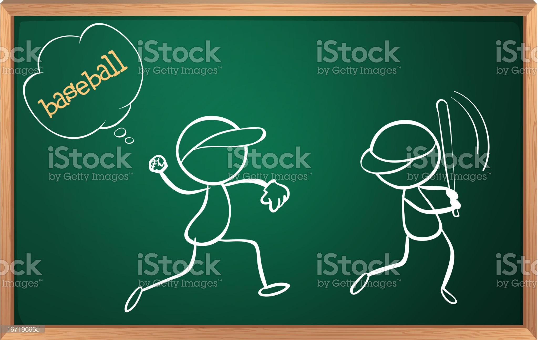 Board with a sketch of two baseball players royalty-free stock vector art