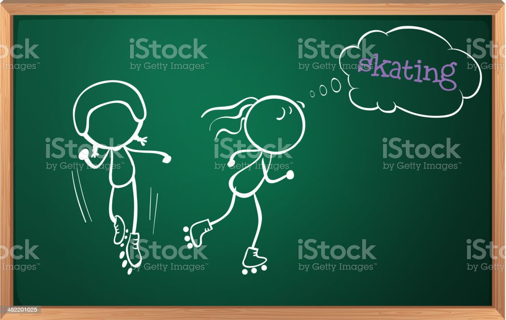 board with a sketch of two girls skating royalty-free stock vector art